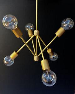 Das Bild Wird Geladen 6 Arms Mid Jahrhundert Modern Messing Leuchte Sputnik