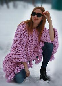 mainrose laine mohair à M kg en xxxlavec en tricoté Poncho 6 la pomponspull à brins2 IbmygvfY76