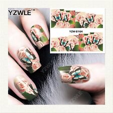 Nail Art Water Decals Stickers Transfers Butterflies Flowers Gel Polish (Y8164)