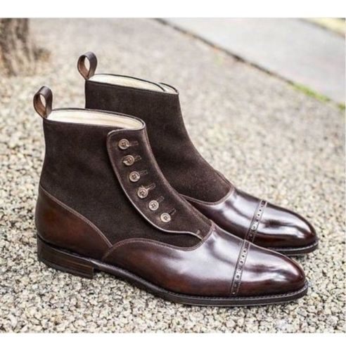 Herren LEATHER HANDMADE BROWN Stiefel BUTTON ANKLE LEATHER Herren Schuhe FOR MEN 4d0a41