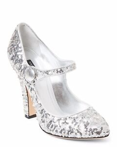 8d2b0304790 Details about DOLCE&GABBANA 100% Authentic Silver Sequin Mary Jane Pumps  Sz.38.5