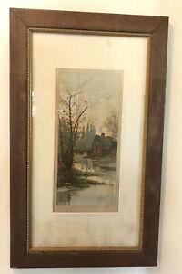 Original-Antique-Louis-K-Harlow-Watercolor-Impressionist-Painting-River-House