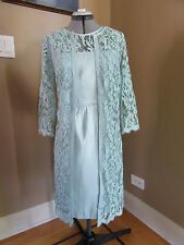Adrianna Papell Lace Overlay 3/4 Sleeves Sheath Dress in Teal/Turquise Size 4