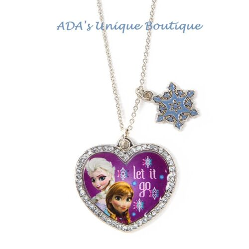 Disney Frozen Elsa and Anna Heart Shaped Let It Go Pendant Necklace Sparkly NWT