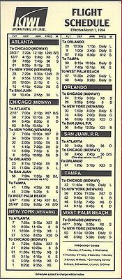 Kiwi International Air Lines system timetable 7//5//95 buy 4+ save 50/% 6061
