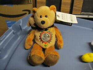50-State-Club-Bean-Bag-Bear-Washington-D-C-Sacagawea-Pomp-with-coin-NEW-With-Tag