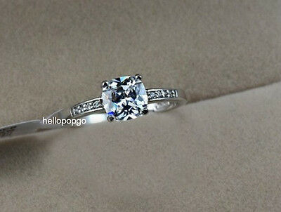 18K White Gold GP Swarovski Clearly Crystal Engagement Wedding Ring BR568