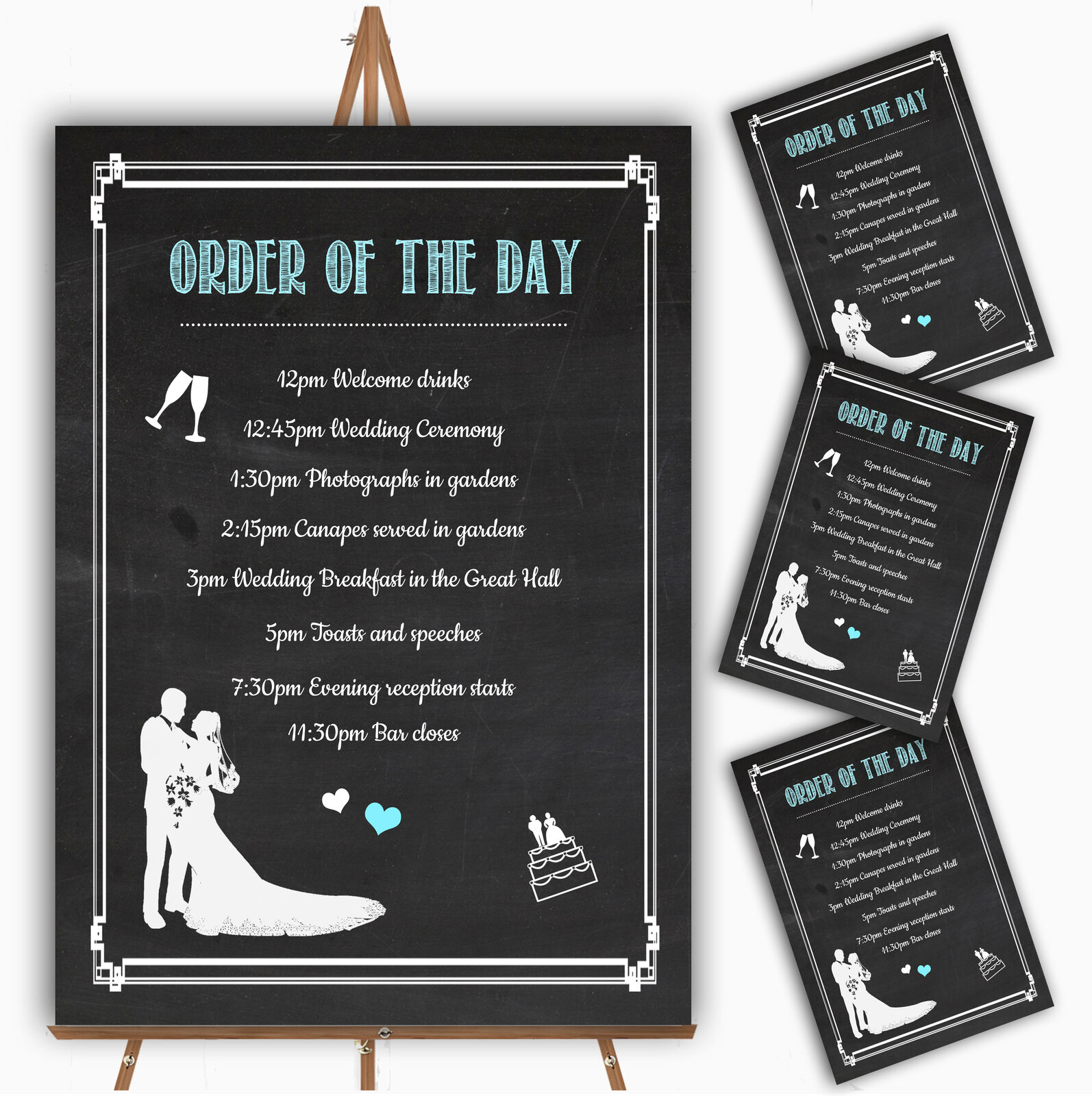 Chalkboard Aqua Personalised Wedding Order Of The Day Cards & Signs