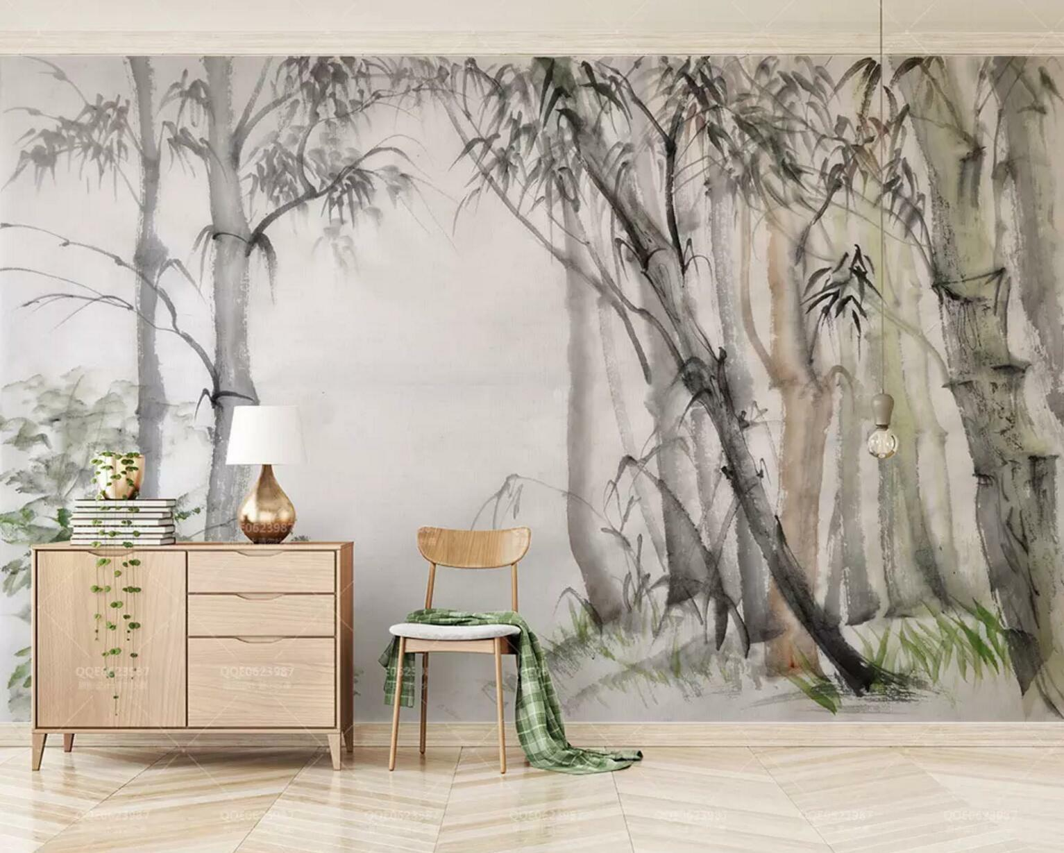 3D Bamboo Ink  52 Wall Paper Exclusive MXY Wallpaper Mural Decal Indoor wall