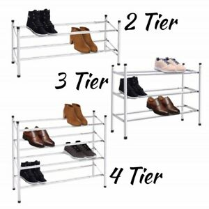 2-3-4-Tier-Shoe-Rack-Extendable-amp-Stackable-Chrome-Finish-Shoe-Organiser-Compact
