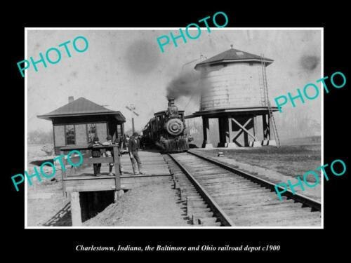 OLD 6 X 4 HISTORIC PHOTO OF CHARLESTOWN INDIANA, THE B&O RAILROAD DEPOT c1900