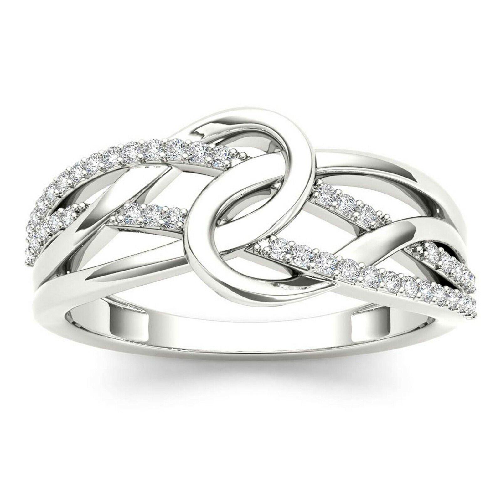 IGI Certified 10k White gold 0.17 Ct Natural Diamond Fashion Engagement Ring