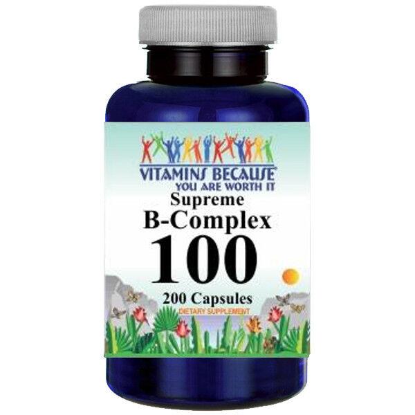 B-100 Vitamin Complex 800MG B1 B2 B3 B12 PABA Inositol 200 Caps - Time Release