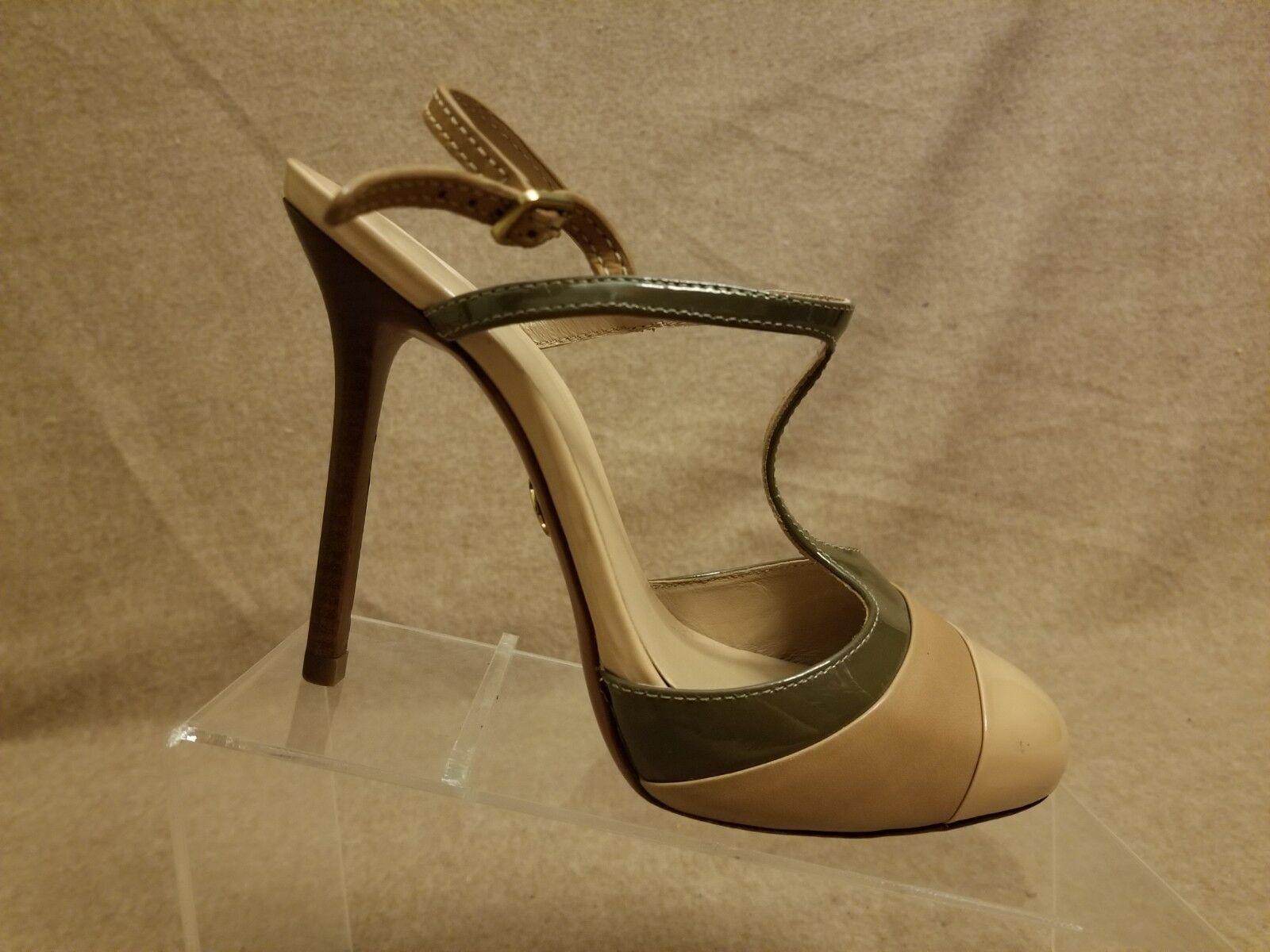 Tory Burch Chaussures Femmes Nude Cuir Bride Arrière T-strap Talons Hauts Sandales Taille 7.5 m