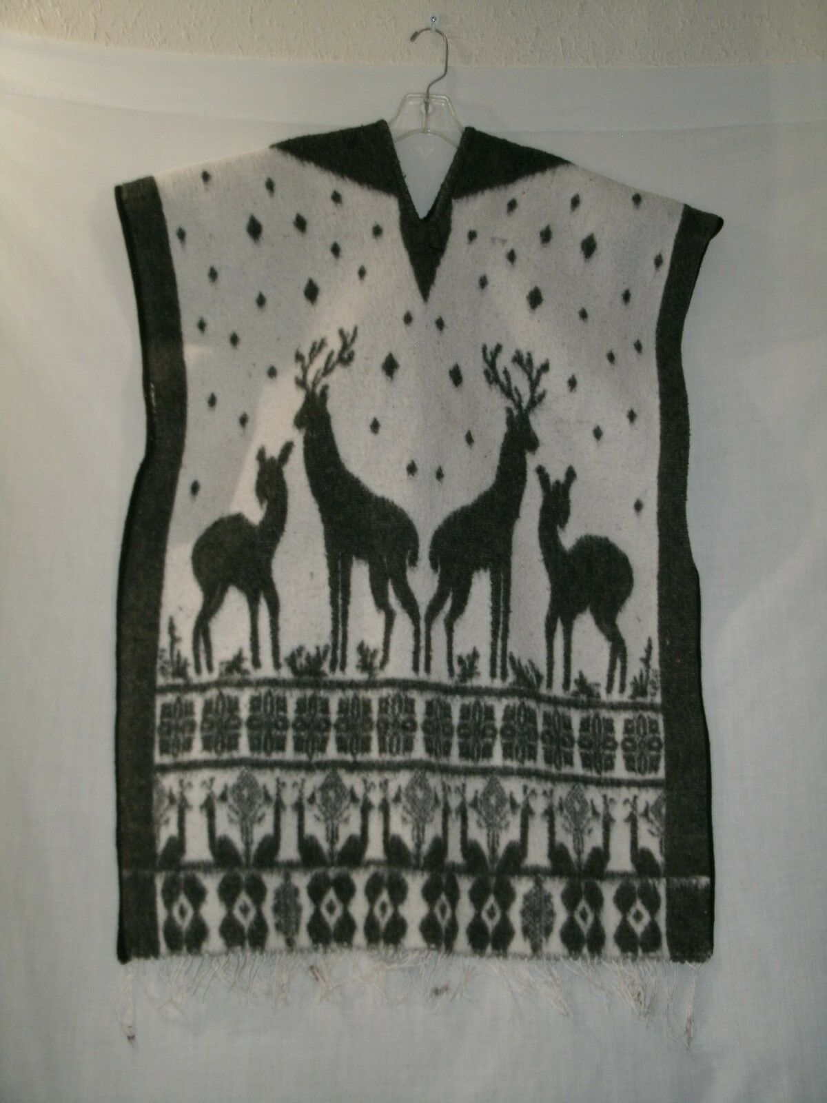 Women's Reversible Christmas Poncho Grey and White Reindeer One Size see Measure