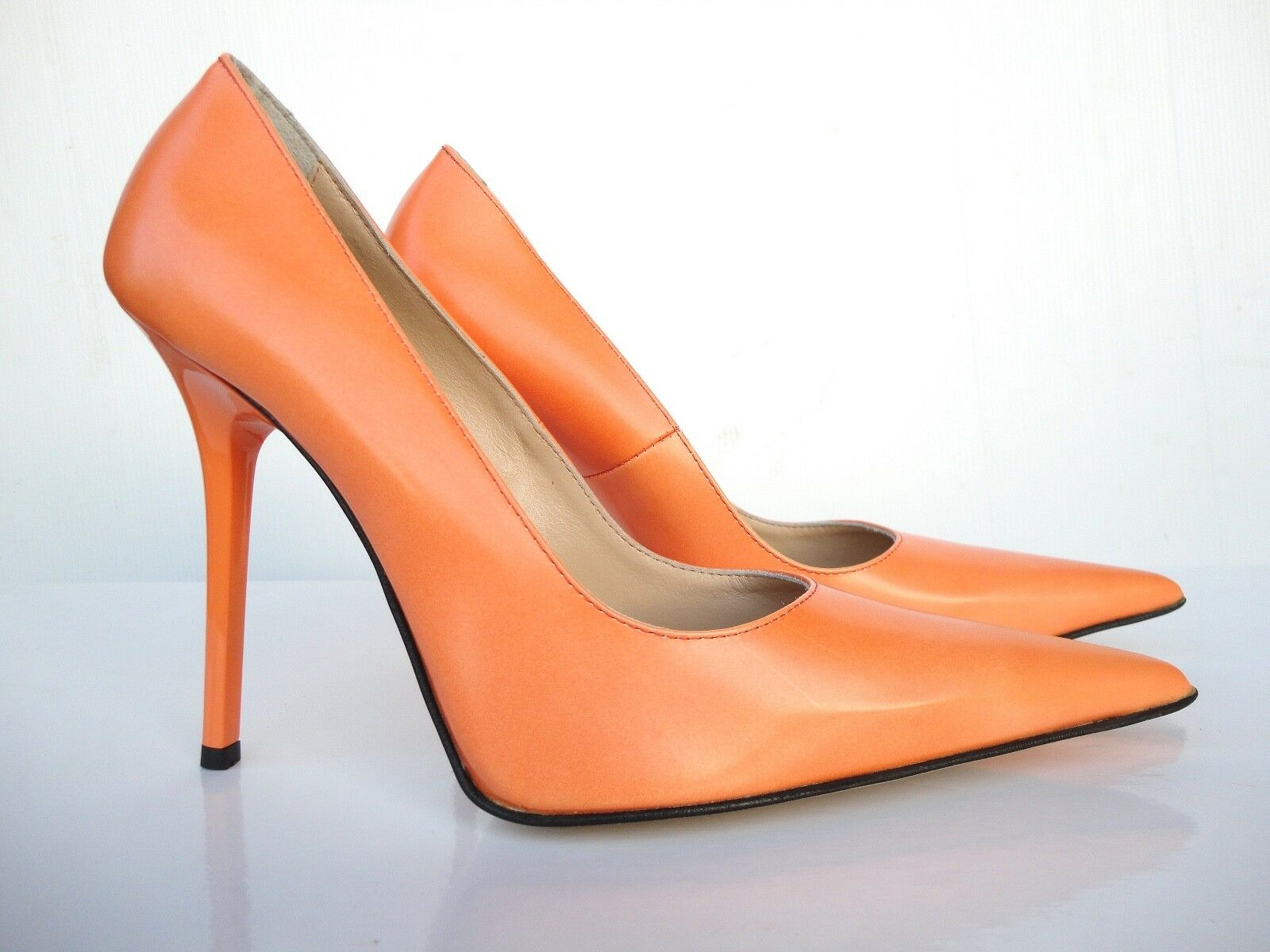 GIOHEL ITALY ITALY ITALY HEELS POINTY TOE NEW PUMPS SCHUHE LEATHER COURT SHOES orange 40 f4bf14