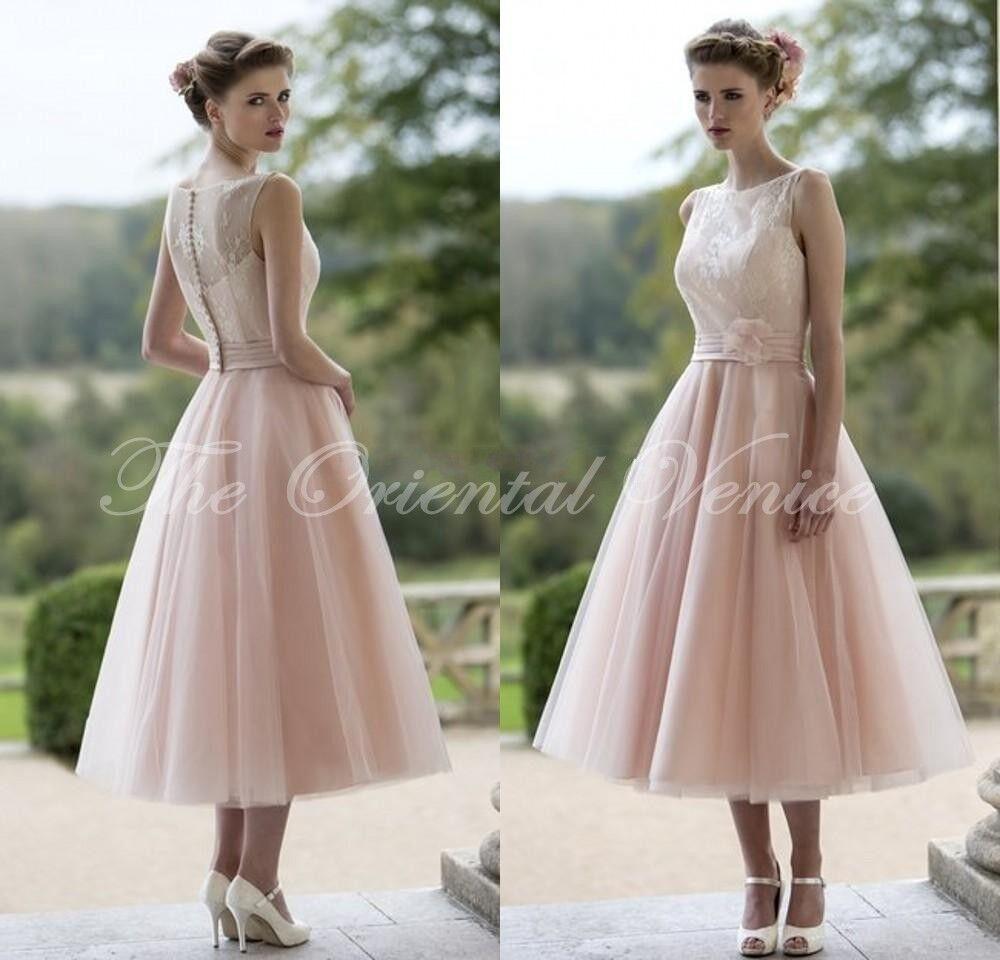 Blush pink lace bridesmaid dresses short tea length for Wedding guest dress blush pink