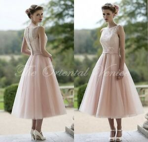 Image Is Loading Blush Pink Lace Bridesmaid Dresses Short Tea Length