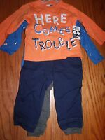 Vitamins Kids Boys 4 Piece Baby Toddler Shirt Pants Orange Blue Trouble Dino