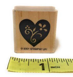 Stampin-Up-Wood-Mounted-Rubber-Stamp-2001-Flower-Design-Inside-Solid-Heart-1-25-034