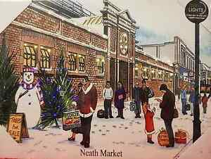 Neath Market in the snow - Light up Painting / canvas - Tony Paultyn