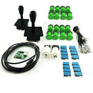 Kit-Joystick-Arcade-2-joueur-Poire-Boutons-Americains-Creux-Vert-Mame-USB