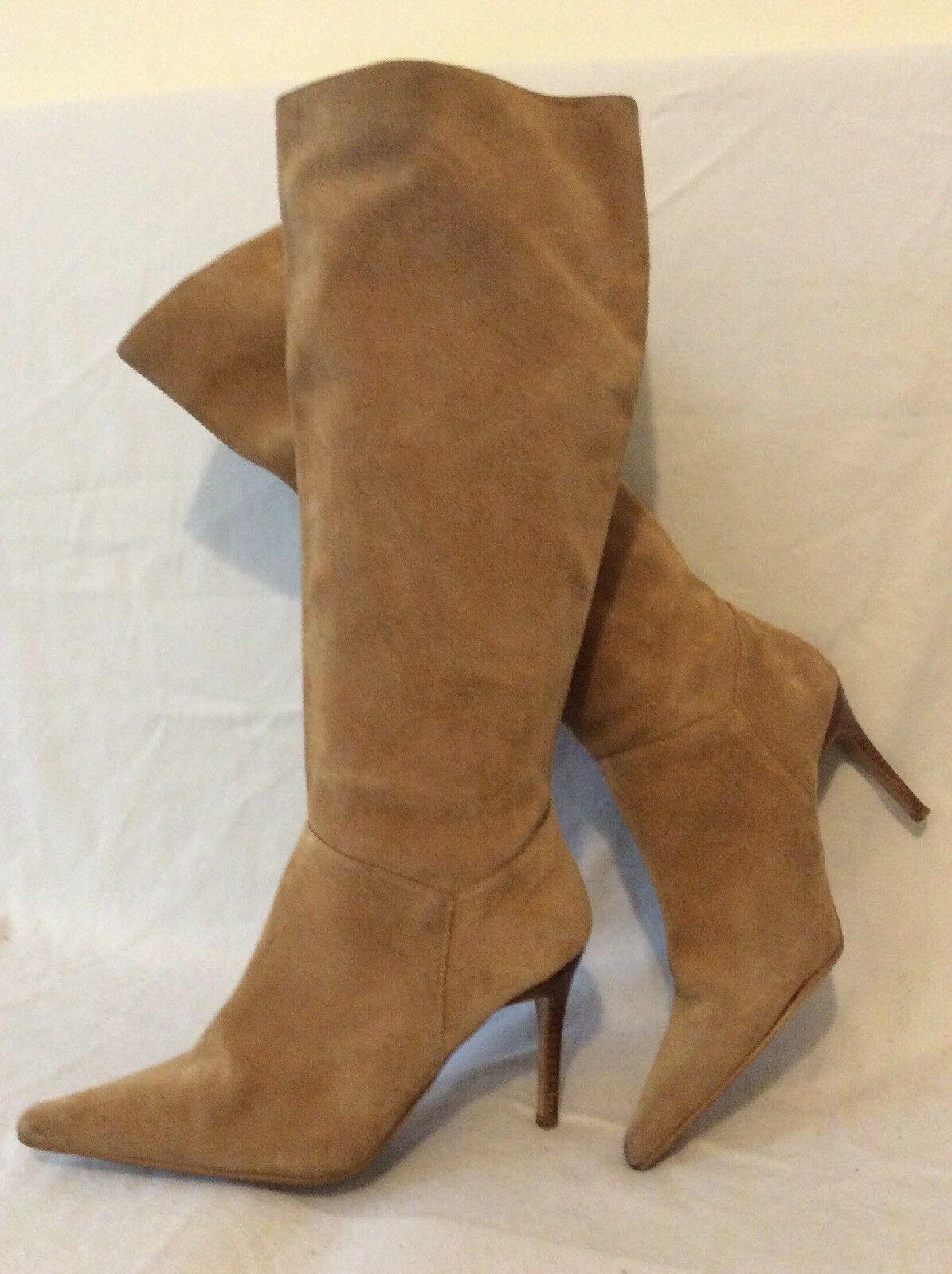 S.W.6. London Beige Knee High Suede Boots Size 6