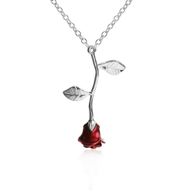 Fashion charming red rose flower pendant necklace womens girl picture 10 of 10 mozeypictures Choice Image