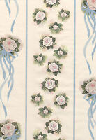 9shabby Roses White Pink Green Roses Blue Ribbon Chic Double Roll Wall Wallpaper