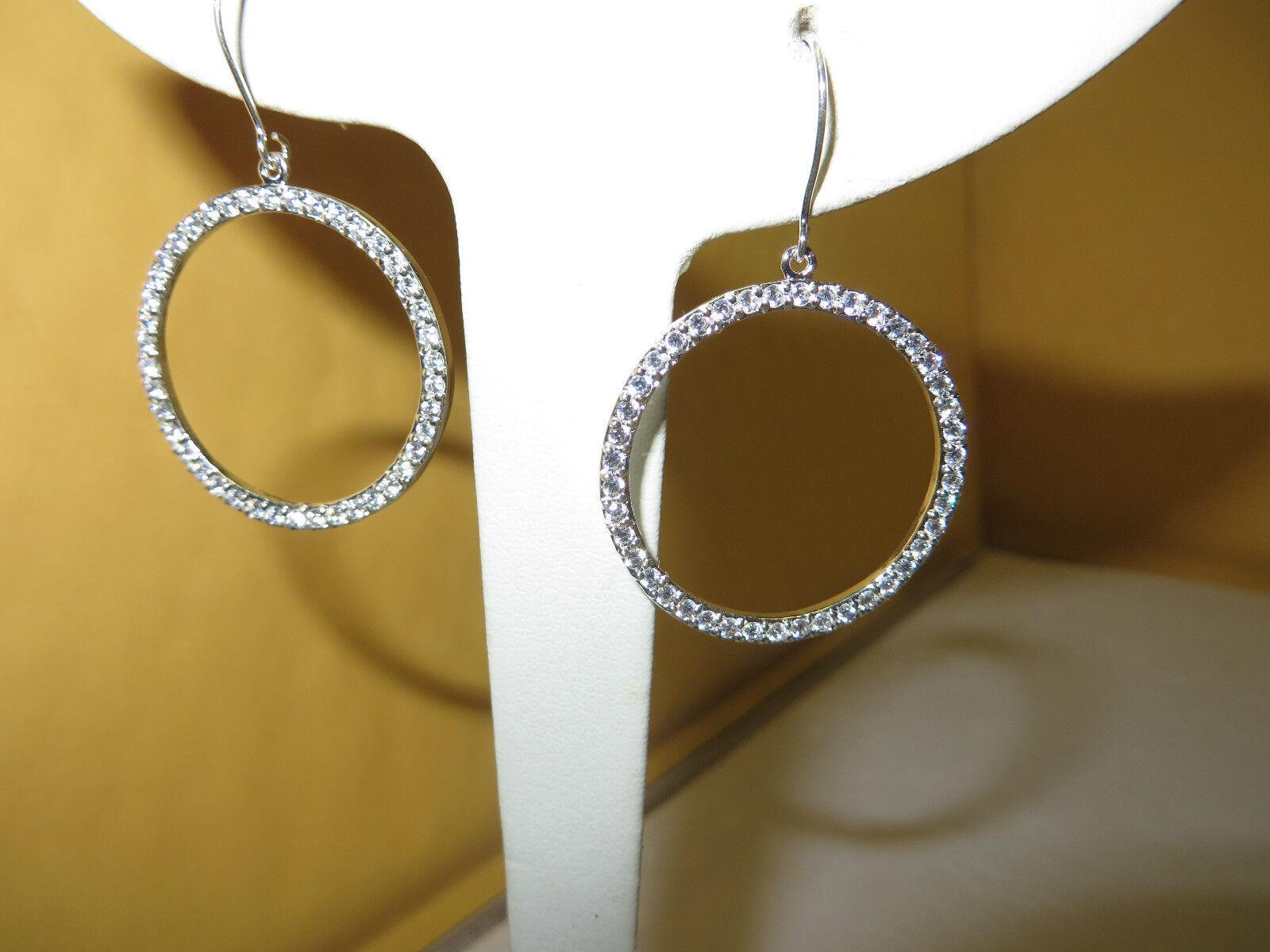 Cubic Zirconia Hoop Dangle 1 inch Round Earrings.925 Sterling 5.1 Grams