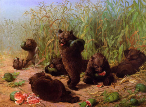 Bears in the Watermelon.. by William Holbrook Beard  Giclee Canvas Print Repro
