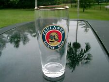 "PAULANER MUNCHEN BIER GLASS LOGO GERMANY ABOUT   5.75 "" TALL GOLD RIM"