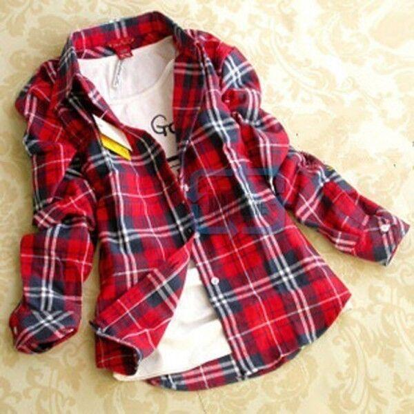 Chic New Women Casual Lapel Plaids Checks Style Flannel Shirt Top Button Blouse
