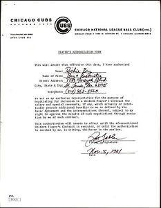 PAT TABLER RC AUTOGRAPH ON 1981 Chicago Cubs Player Authorization Form Contract