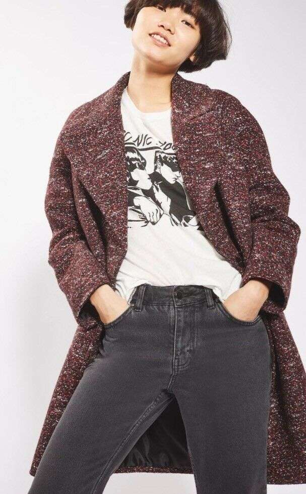 Topshop Double Breasted Cocoon Coat Size Medium Rrp