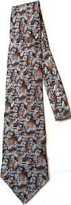 Tie-Nature-Conservatory-Lion-Silk-Grey-Brown-Fashion-Necktie-Classic-3-75-034
