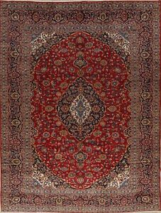 VINTAGE-Persian-Rug-Traditional-Floral-Hand-Knotted-WOOL-Red-10x13-LARGE-Rug