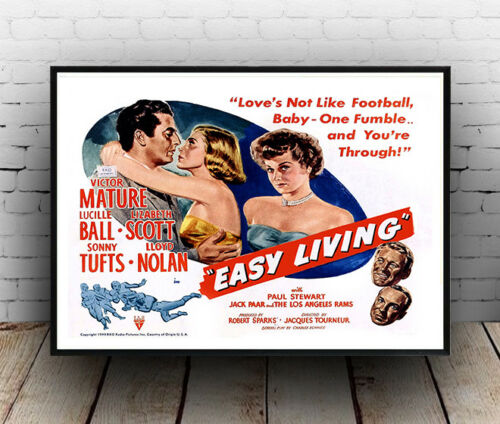 Poster reproduction. Vintage Victor Mature Movie advert Easy Living