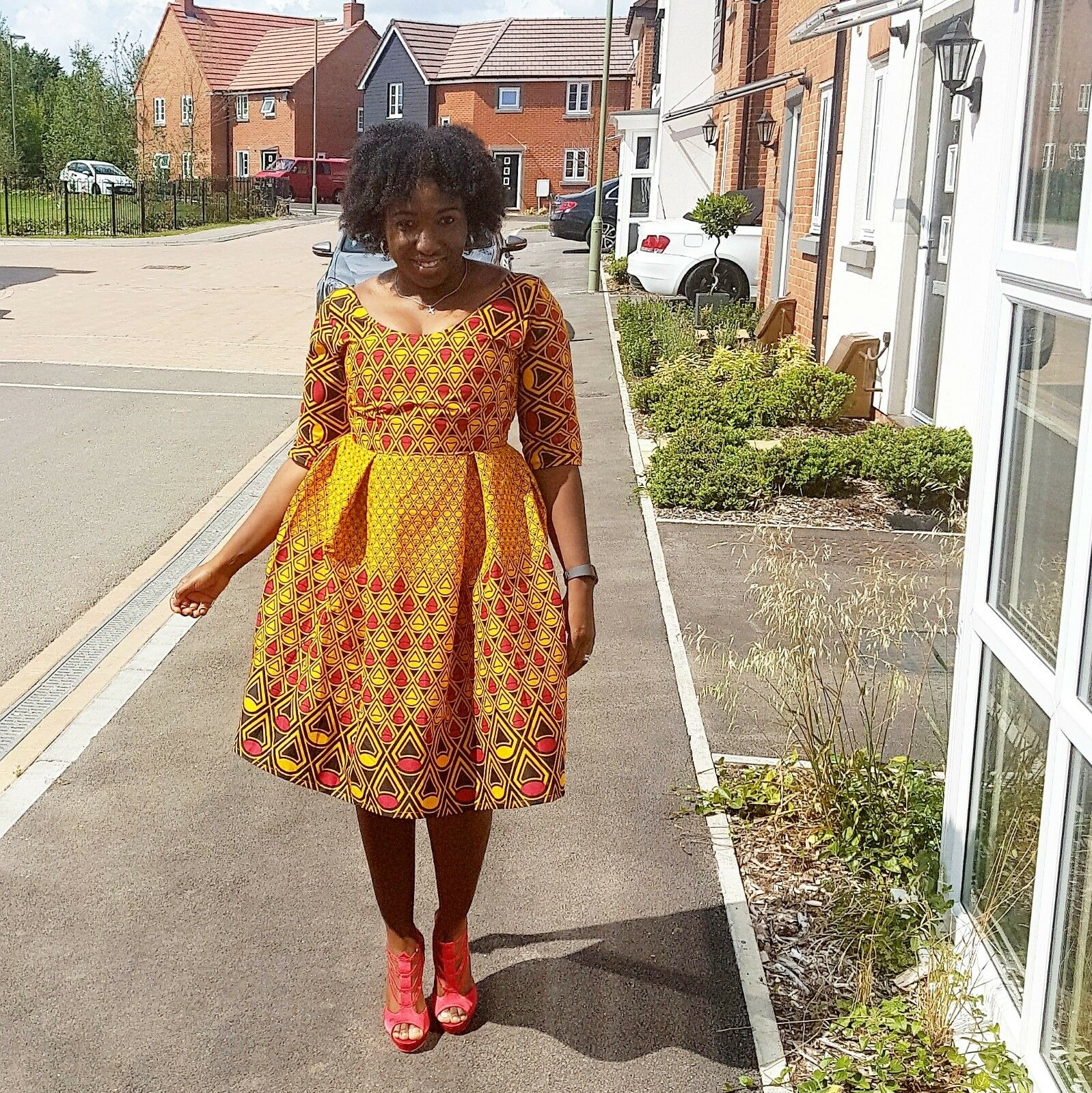 New African fabric Ankara fitted dress size multicoloured
