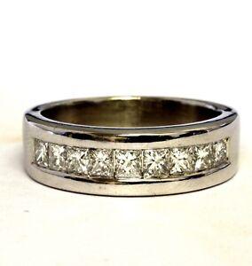 14k-white-gold-1-44ct-mens-princess-diamond-wedding-band-ring-10-6g-estate-gents