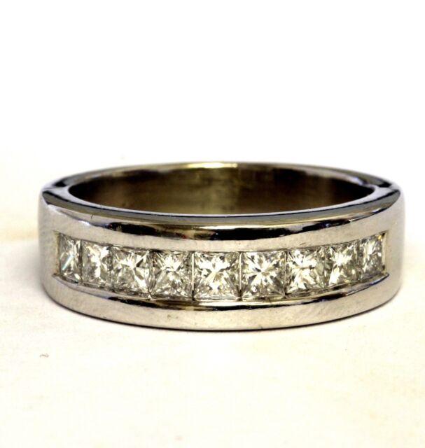 14k white gold 1.44ct mens princess diamond wedding band 10.6g estate gents