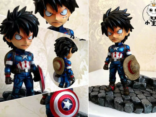 One Piece Monkey D Luffy Cosplay Cos Captain American GK Figurine 13cm