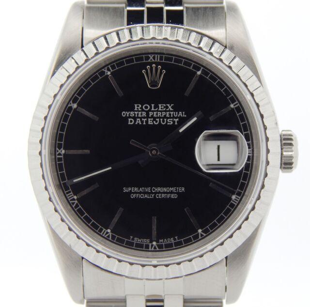 Rolex Datejust Herren Edelstahl Stahl Saphir Kristall Schwarzes Ziffernblatt Uhr