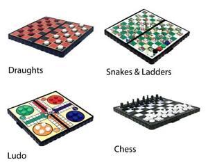 4-Pack-de-Viaje-Juegos-Mesa-Magnetico-Ajedrez-Ludo-Damas-Serpientes-y-Escaleras