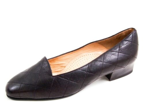 Bally Quilted Moccasin Pumps Brown Leather Womens