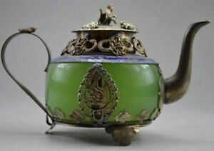 Collectible-Decorated-Old-Handwork-Jade-amp-Tibet-Silver-Dragon-Tea-Pot-Monkey-NER