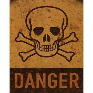 9973798-x Retro Vintage Tin Sign Skull Danger 20x25cm
