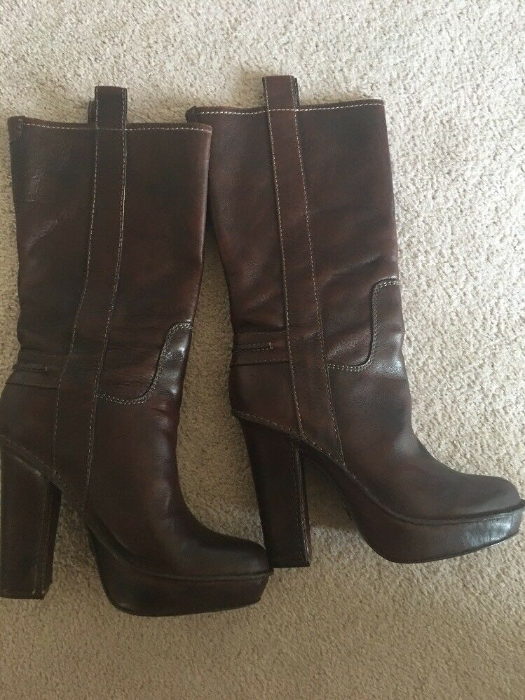 FRYE Women's Mid Brown Leather Boots Sz 9 paid  348