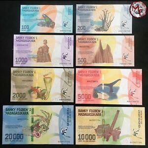 Madagascar-100-20-000-Ariary-2017-Pick-97-103-Set-8-PCS-UNC