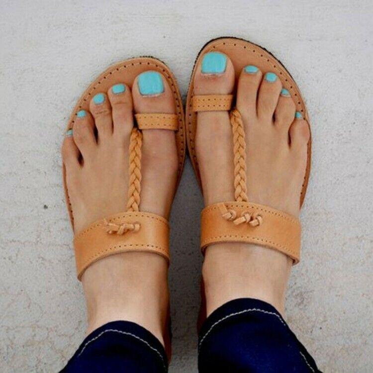 Fashion Women Beach Sandals Beach Outdoor Flat Toe Ring Slippers Rope Leisure